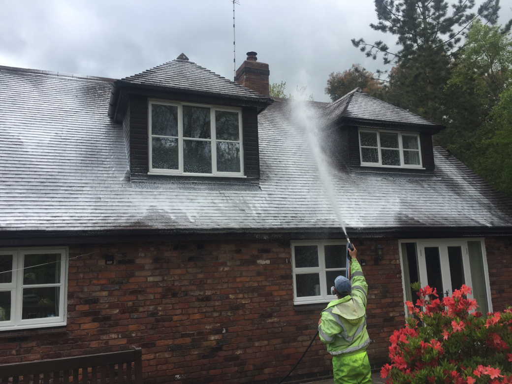 Roof cleaning in Alderley Edge, Cheshire.