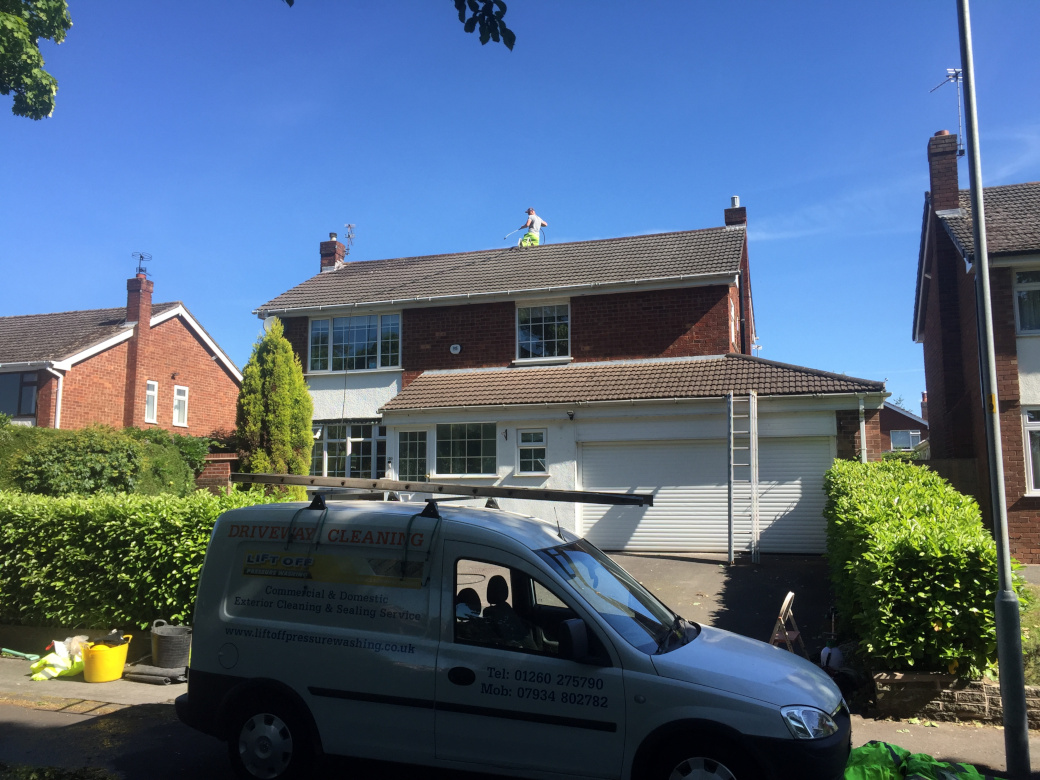 Roof cleaning in Congleton, Cheshire.