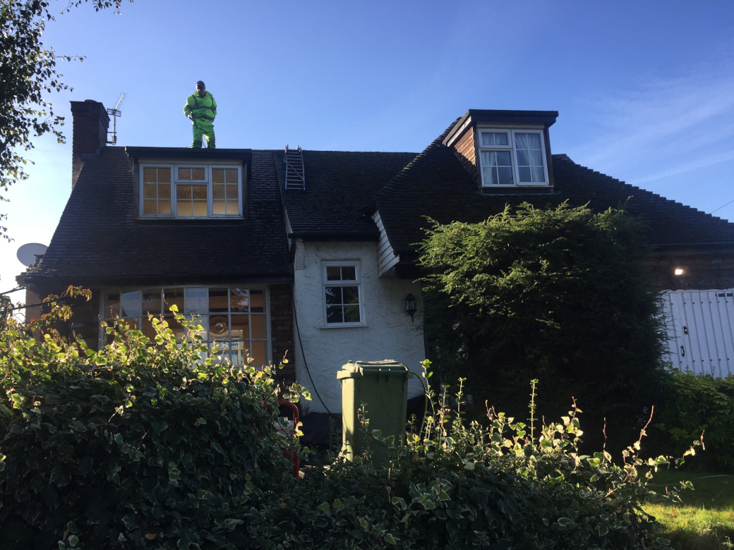 Roof cleaning in Congleton.