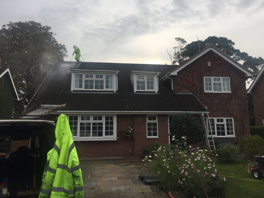 Roof cleaning in Wilmslow.